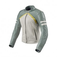 레빗 머리디언 여성용 가죽 자켓 (REV'IT MERIDIAN LADY LEATHER JACKET WHITE/GREEN)